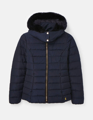 Joules-Cassington Padded Coat With Fur Collar And Hood Navy | Eve & Ranshaw