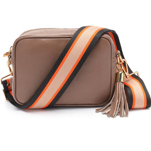 Elie Beaumont-Cross Body Bag Taupe with Orange Black Strap