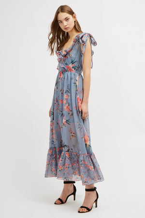 French Connection-Cecile Sheer V Neck Maxi Dress
