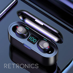 TRUE Wireless Earbuds with Chargebox LED Display (100% Waterproof)
