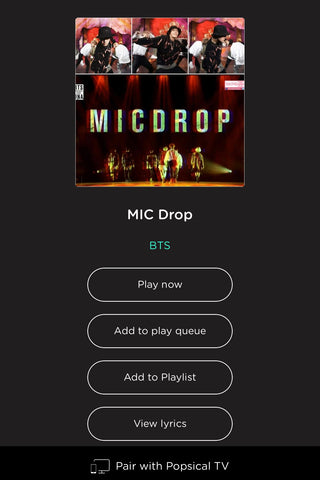 BTS Mic Drop available on Popsical Karaoke