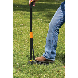 "Fiskars 339950-1001 39"" 4-Claw Weeder, 1-Pack, Black/Orange - wise-line-tools"