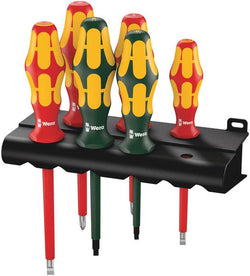 Wera 347777  -  VDE Insulated Slotted/Phillips/Square Screwdriver Set + Rack