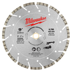 "Milwaukee 49-93-7125  -  9"" Universal Diamond Blade; For use with reinforced concrete, concrete, brick, block, green concrete, asphalt, stone, and granite"