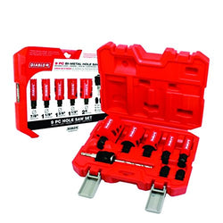 "Diablo DHSO9SGP  -  9 Piece High Performance Hole Saw Set For Drilling Wood, Plastic, Aluminum, Metal Stainless Steel, 7/8""-2"" Cutters"