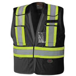Pioneer Hi- Viz Black Safety Tear-Away Vest - wise-line-tools