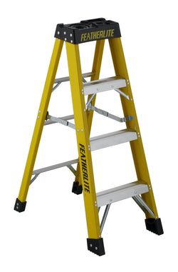 FEATHERLITE 6904   4' EXTRA-HEAVY DUTY FIBERGLASS STEPLADDER - wise-line-tools