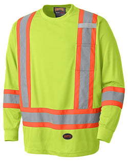 Pioneer Birdseye Hi-Viz Yellow Safety Long-Sleeve - wise-line-tools