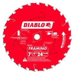 "Diablo D0724A  -   7-1/4"" 24 Tooth Saw Blade"