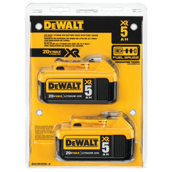 DEWALT DCB205-2 20V MAX XR 5.0Ah Lithium Ion Battery, 2-Pack - Wise Line Tools