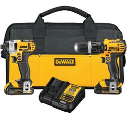 DEWALT DCK285C2 20V MAX* LITHIUM ION COMPACT HAMMERDRILL / IMPACT DRIVER COMBO KIT (1.5 AH) - Wise Line Tools