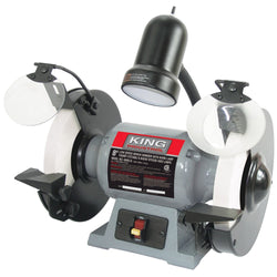 "KC-895LS - 8"" LOW SPEED BENCH GRINDER WITH LIGHT - Wise Line Tools"