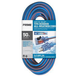 Prime LT530730 Heavy Duty 50-Foot Artic Blue All-Weather TPE Extension Cord - wise-line-tools