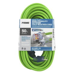 Prime NS512830 - 1213 SJTW Neon Green Extension Cord w/Primelight - wise-line-tools
