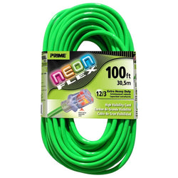 Prime NS512835 100-Foot 12/3 SJTW Flex High Visibility Extra Heavy Duty Outdoor Extension Cord with Prime light Indicator Light, Neon Green - wise-line-tools