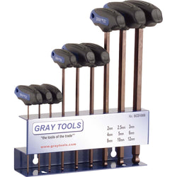 Gray GT-SCD1009  -  BALL HEX KEY T-HANDLE 9 PCS METRIC