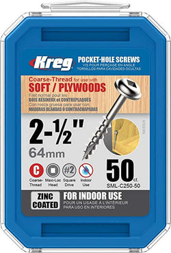 Kreg 2 1/2-Inch Pocket Screws No.8 Coarse, Washer - wise-line-tools