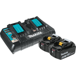 Makita Y-00359 - 18V Dual Port Charger with 2 5.0Ah Batterie - wise-line-tools