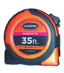 Keson PG1835VMAG  -  35 x 1 NYLON COATED STEEL BLADE, UNITS: FT/IN, MAGNETIC; 35 FT x 1 IN NYLON COATED STEEL BLADE, UNITS: FT, 1/8, 1/16, ORANGE, MAGNETIC TIP