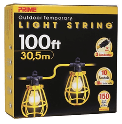 Prime LSUGM1835 - 100ft. 12/3 SJTW U-Ground 10-Light Strings w/Cages - wise-line-tools