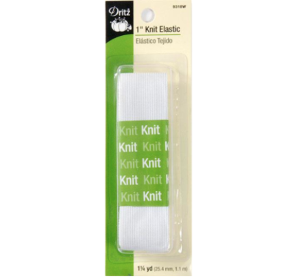 1in Knit Elastic - 1.14m (1.25yard) - White