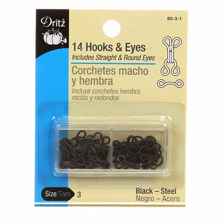 Dritz - Hooks Eyes & Loops - Black Size 3