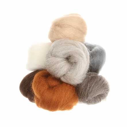 Wistyria Wool Roving - 8 Pieces - Furry Friends