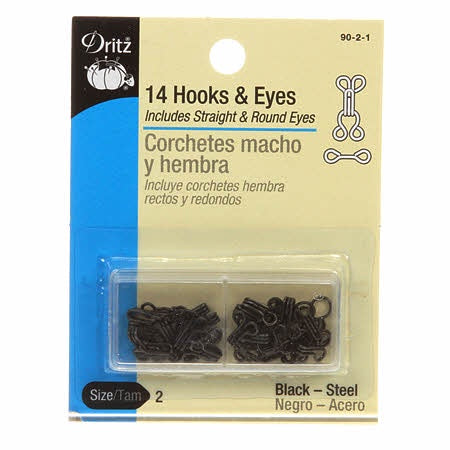 Dritz - Hooks Eyes & Loops - Black Size 2