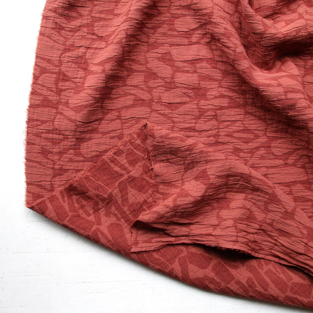 1/2m Soft Shapes - Cotton Linen Jacquard - Auburn
