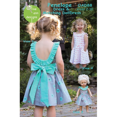 Olive Ann Designs - Penelope Dress with Matching Doll Dress Pattern