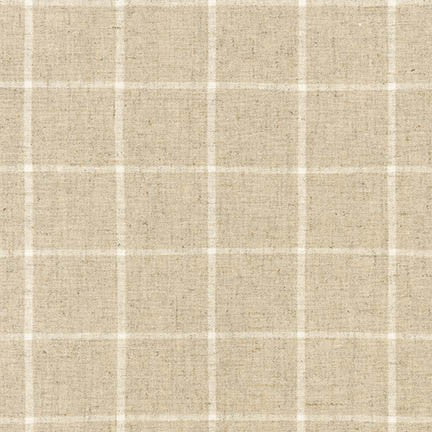 natural colour window pane check fabric