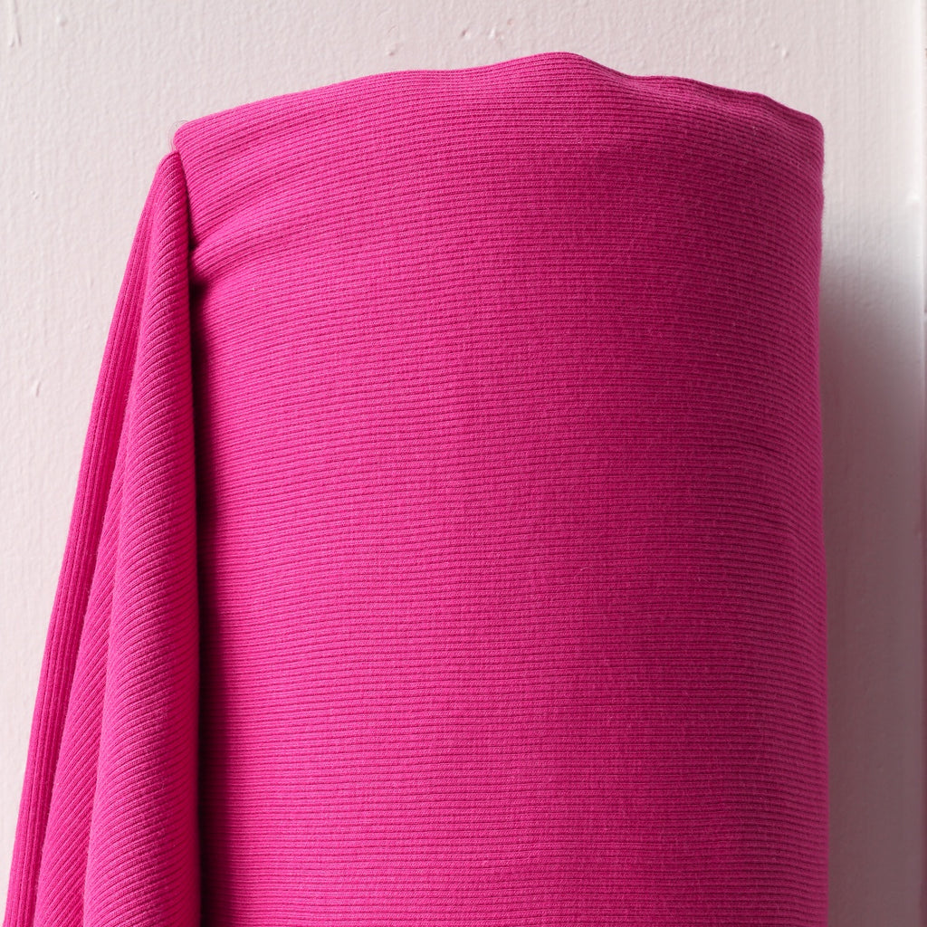 1/2m Bamboo Cotton Rib Knit - Bright Pink