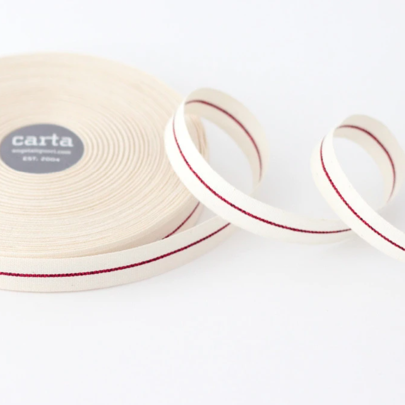"1/2m Studio Carta - Metallic Line Cotton Ribbon - Tight Weave - 5/8""- Natural/Red Line"