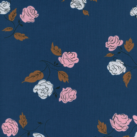 1/2m - Cotton and Steel - Kimberly Kight - Steno Pool - Roses - Midnight