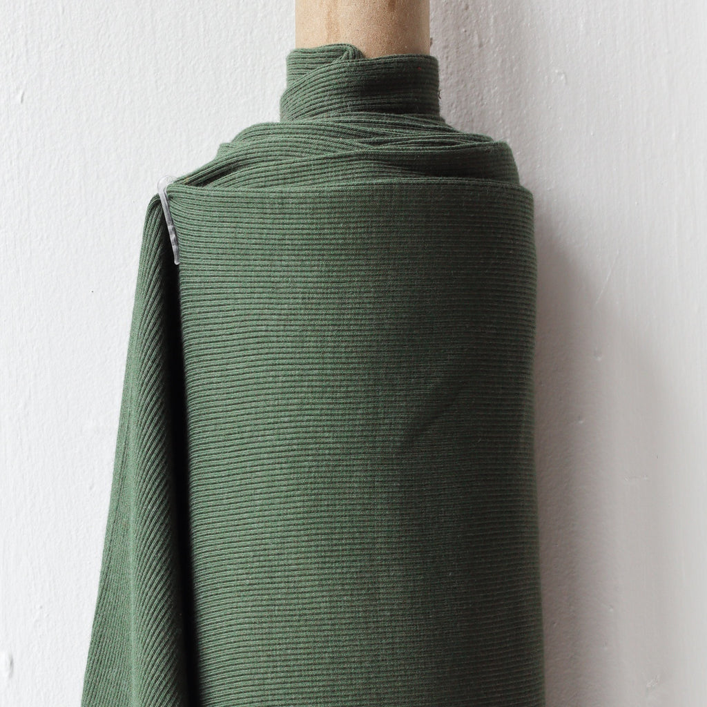 1/2m Bamboo Cotton Rib Knit - Dark Olive
