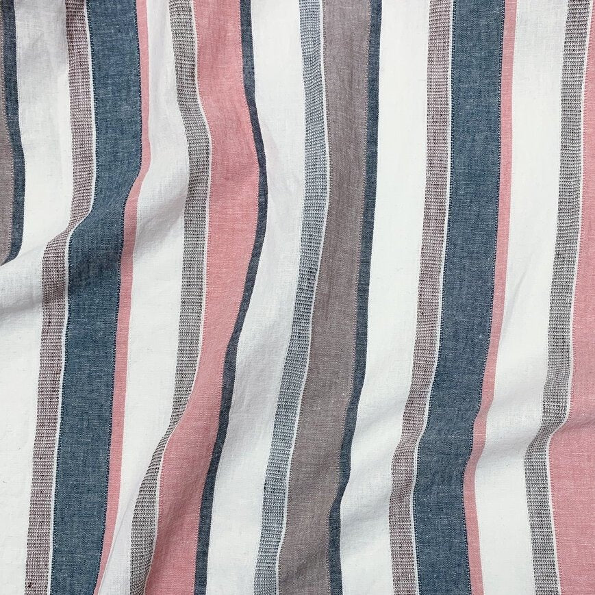 1/2m Yarn Dyed Cotton Linen - Textured Multi Stripe - Seaside