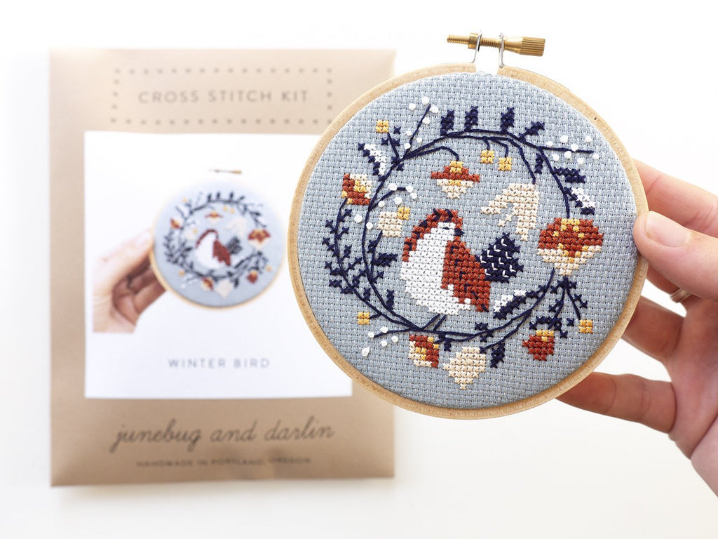 Junebug and Darlin - Winter Bird Cross Stitch Kit