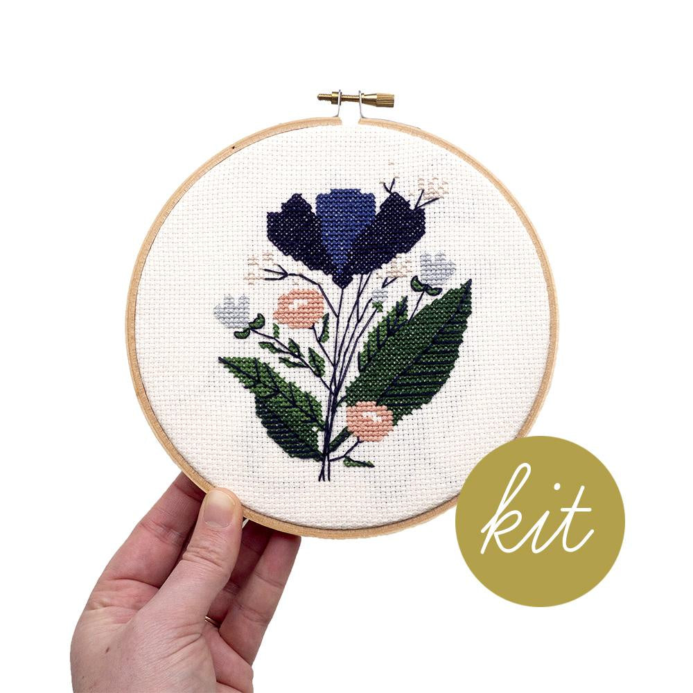 Junebug and Darlin - Midnight Floral Cross Stitch Kit