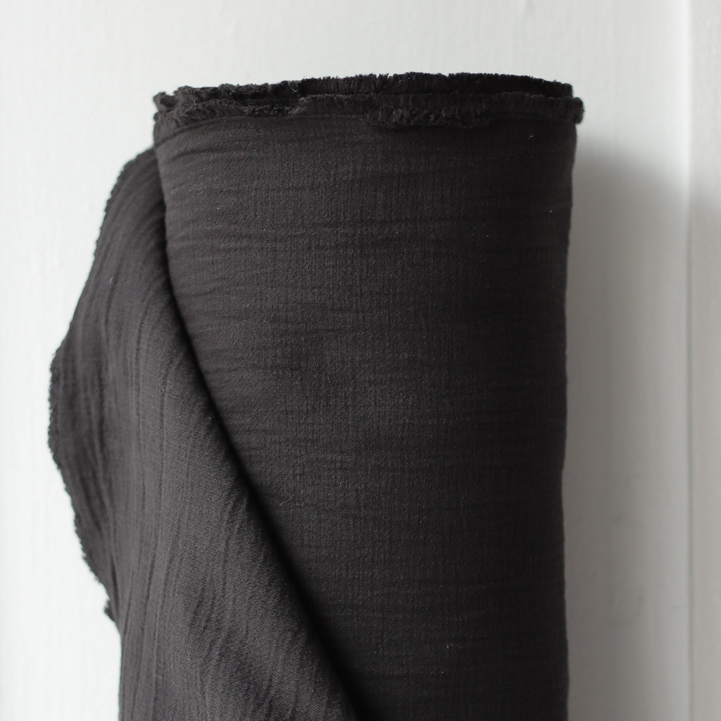 1/2m Textured Cotton Double Cloth - Black