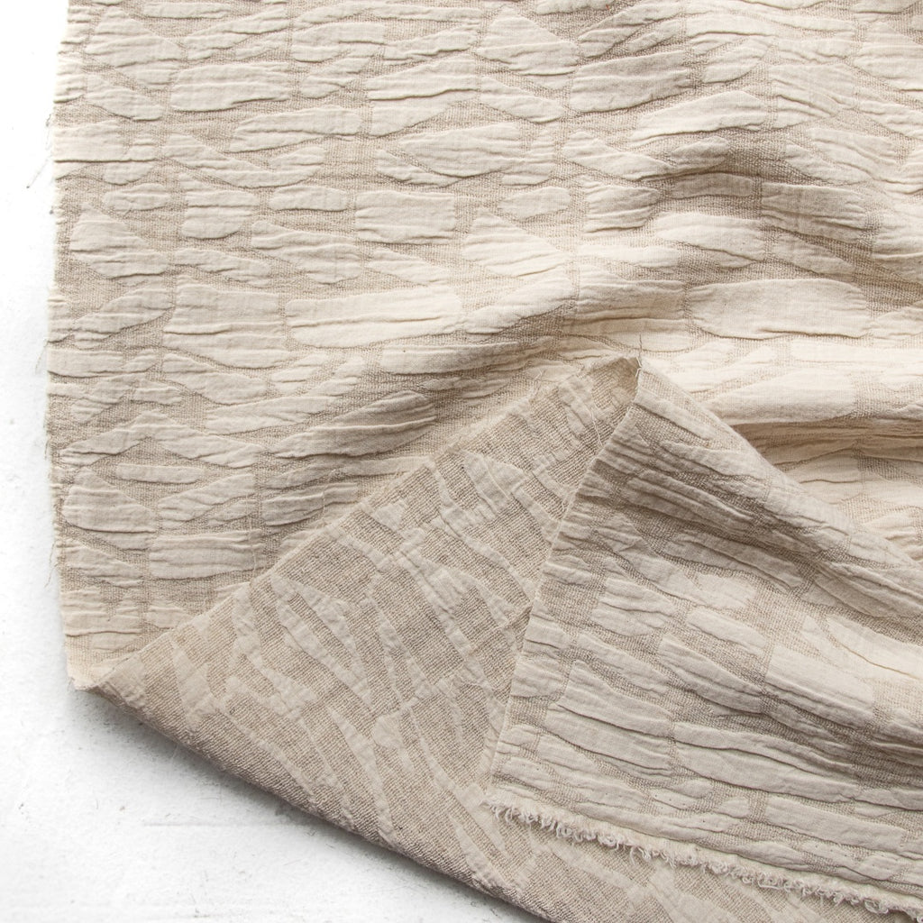 1/2m Soft Shapes - Cotton Linen Jacquard - Oatmeal