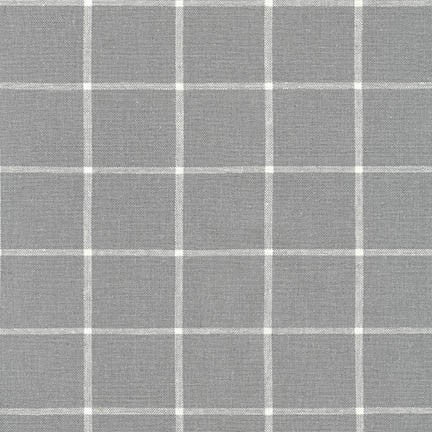 1/2m Robert Kaufman - Essex Yarn Dyed Classic Wovens - Windowpane - Steel