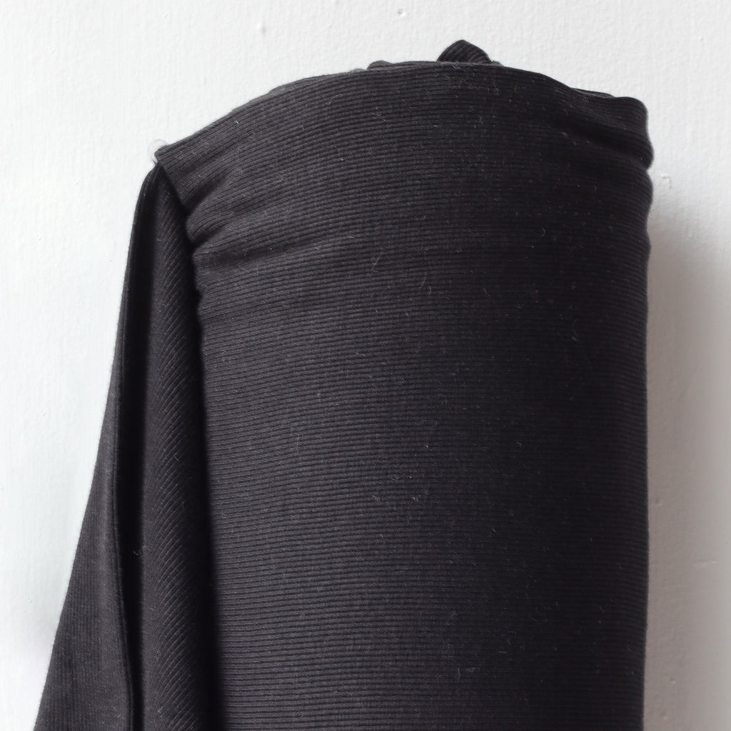 1/2m Bamboo Cotton Rib Knit - Black
