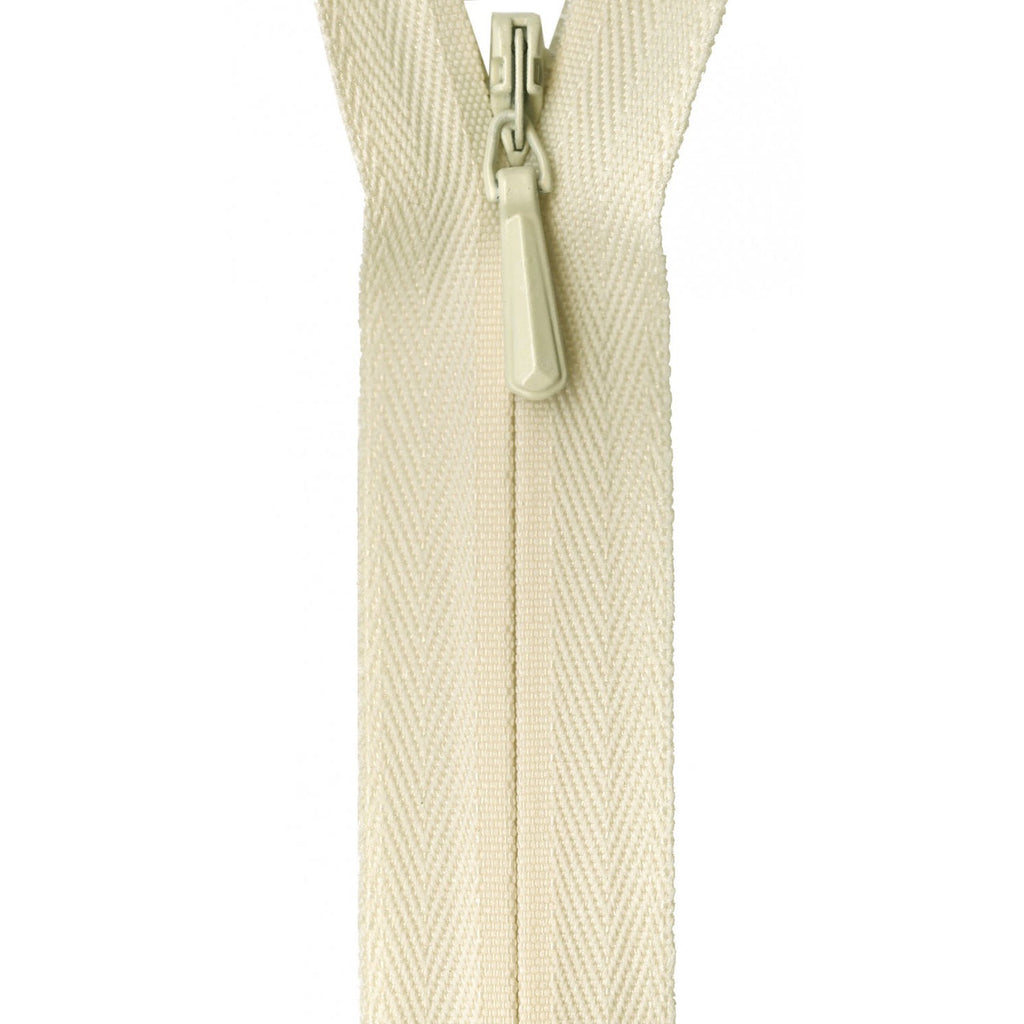 "YKK Unique Invisible Zipper - 22"" - Cream"
