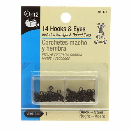Dritz - Hooks Eyes & Loops - Black Size 1
