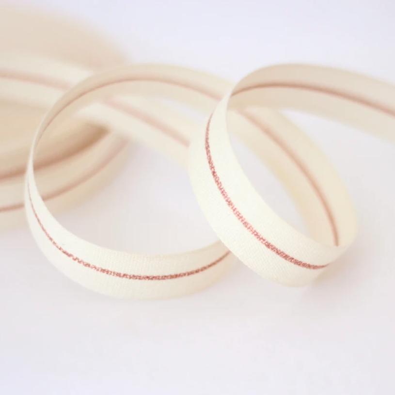 "1/2m Studio Carta - Metallic Line Cotton Ribbon - Tight Weave - 5/8"" - Natural/Rose Gold Line"