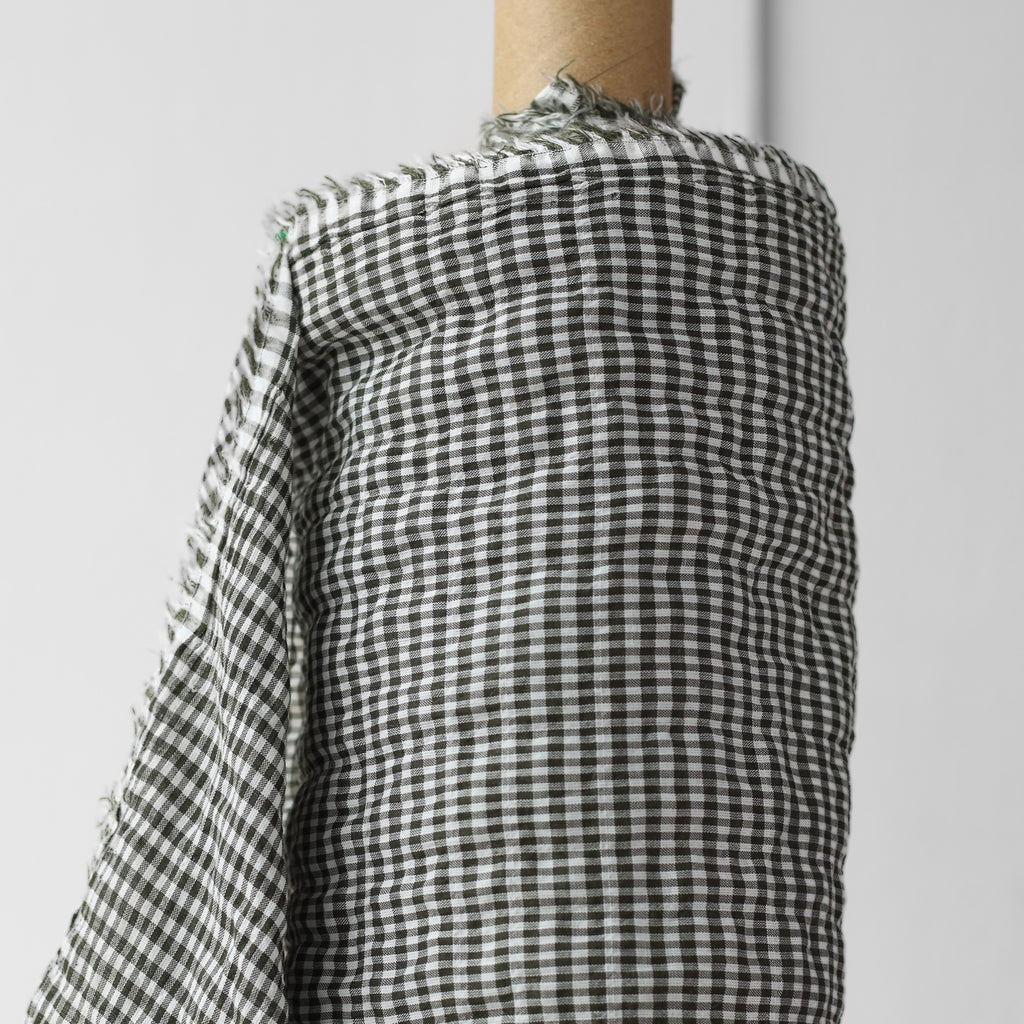 1/2m Cotton Tencel - Plaid Shirring - Mini Plaid - Pewter Green