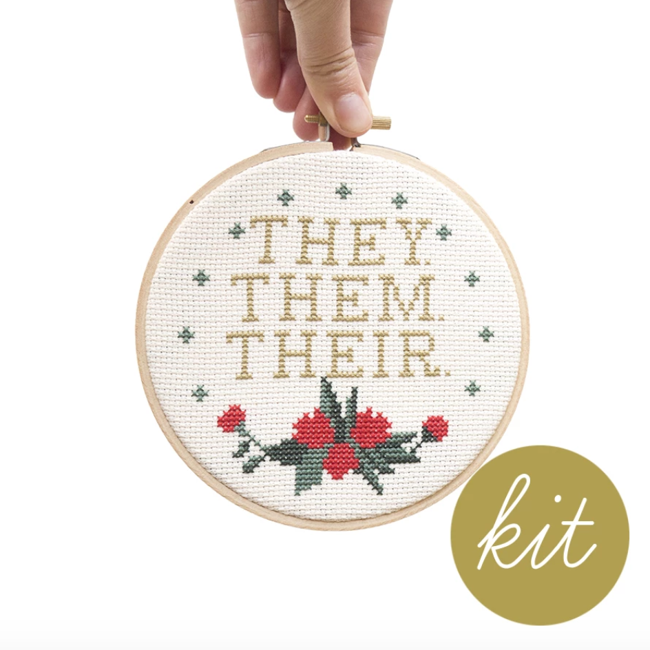 Junebug and Darlin - Pronouns (They, Them, Their) Cross Stitch Kit