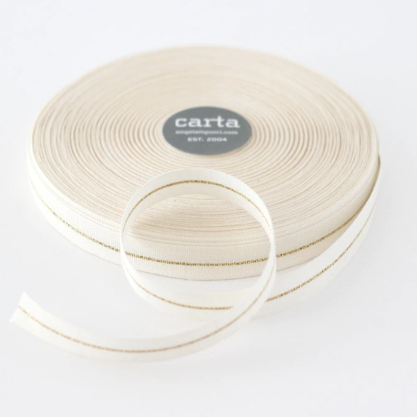 "1/2m Studio Carta - Metallic Line Cotton Ribbon - Tight Weave - 5/8"" - Natural/Gold Line"