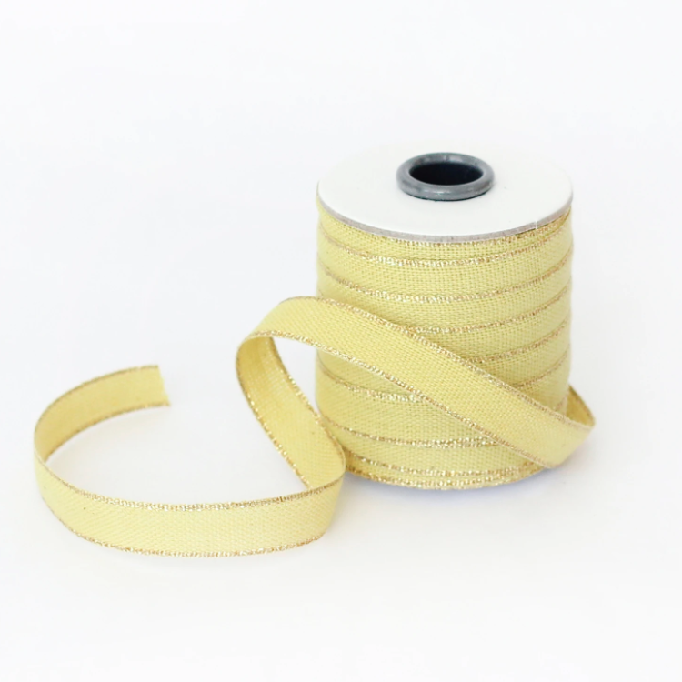 "1/2m Studio Carta - Drittofilo Cotton Ribbon - 3/8"" - Chartreuse/Gold"