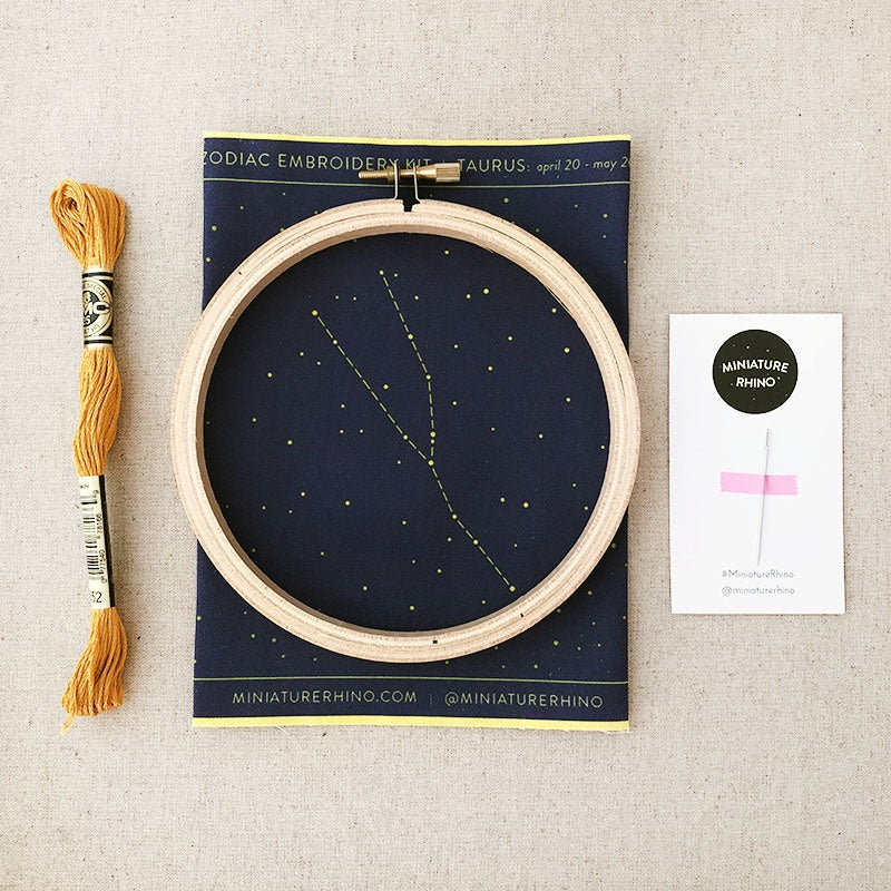 Miniature Rhino - Taurus Zodiac Embroidery Kit